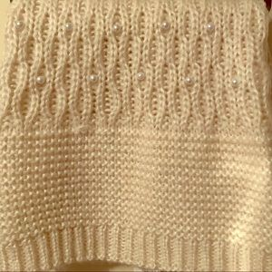 Cream colored infinity scarf pearl accents NWT